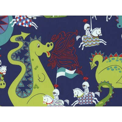 Alexander Henry Fabrics - Kids - Knights and Dragons in Navy