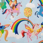 Alexander Henry Fabrics - Kids - Magic Rainbow Shine - Unicorns in Aqua