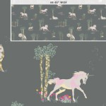 Art Gallery Fabrics - Fantasia - Unicorn Fable in Sageplant