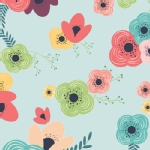 Art Gallery Fabrics - Knits - Happy Home - Table Flowers in Rainbow
