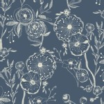 Art Gallery Fabrics - Knits - Line Drawings in Bluing