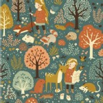 Birch Fabrics - Acorn Trail - Nature Hike in Cobalt
