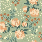 Birch Fabrics - Acorn Trail - Peonies in Mint