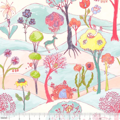 Blend Fabrics - Faraway Forest - Garden Party Friends in White