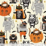 Blend Fabrics - Halloween - Boo Crew - Purrfect Pranksters in Ivory