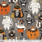 Blend Fabrics - Halloween - Boo Crew - Purrfect Pranksters in Grey
