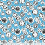 Blend Fabrics - Wonderland - Late for a Date in Blue