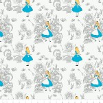 Camelot Fabrics - Alice In Wonderland - Golden Afternoon Tolile in Light Grey