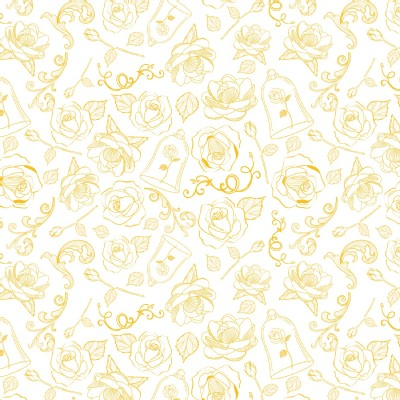 Camelot Fabrics - Disney Licensed - Beauty and the Beast - The Rose  in Yellow