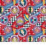 Camelot Fabrics - Girl Power 2 - Badges in Red