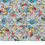 Camelot Fabrics - Girl Power 2 - Comics in Grey