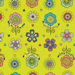 Camelot Fabrics - Petite Plume - Floral in Chartreuse