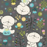 Camelot Fabrics - Theodore and Izzy - Theodore the Bear in Gray