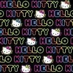 Character Prints - Hello Kitty - Neon Word Stripe in Pink