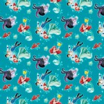 Character Prints - Princess - Disney The Little Mermaid Ariel & Eric Toss in Multi