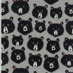 Cotton And Steel - CS Collection - Black and White - Teddy Bears in Grey
