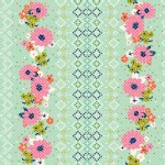 Cotton And Steel - Mustang - Floral Border Geo in Sea