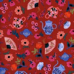 Cotton And Steel - Wonderland - Garden Party in Crimson