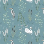 Lewis And Irene - Down By the River - Swan and Heron in Teal