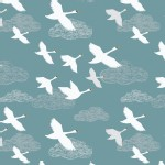 Lewis And Irene - Down By the River - Swans in Flight in Teal