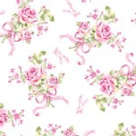 P B Textiles - Ballet Rose - Rose Bouquet in White