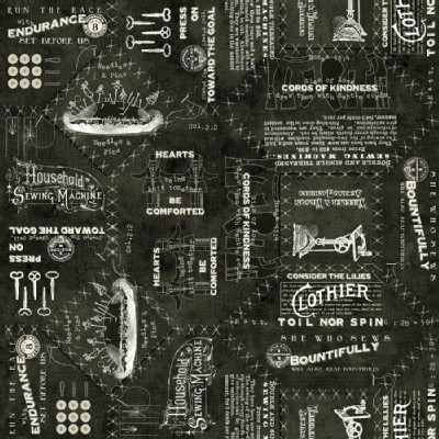 Quilting Treasures - Handmaidens - She Who Sews - Vintage Canvas Text in Black