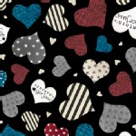 Quilting Treasures - Simply Gorjuss - Hearts in Black