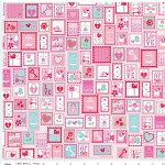 Riley Blake Designs - Lovey Dovey - Lovey Stamps in Pink