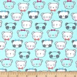 Timeless Treasures - Kids - Cutie Pie Panda in Aqua