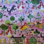 Trans Pacific Textiles - TPT - Little Red and Wolf in Pink