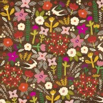 Windham Fabrics - Petite Fleurs Organic - Wood Swallows in Brown